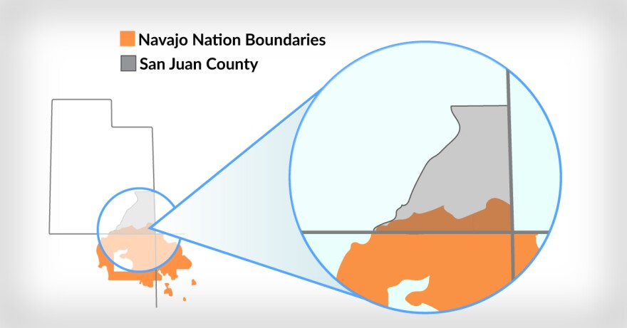 Map displaying where Navajo Nation intersects with San Juan County.