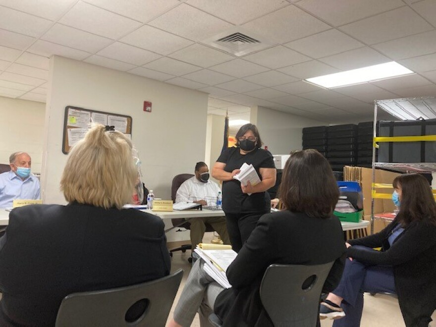 Union County Board of Elections starting to review and count absentee mail-in ballots during the pre-canvass meeting.