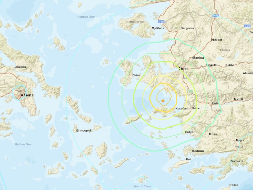 A strong earthquake shook parts of Turkey and Greece on Friday, after striking north of the Greek island of Samos.