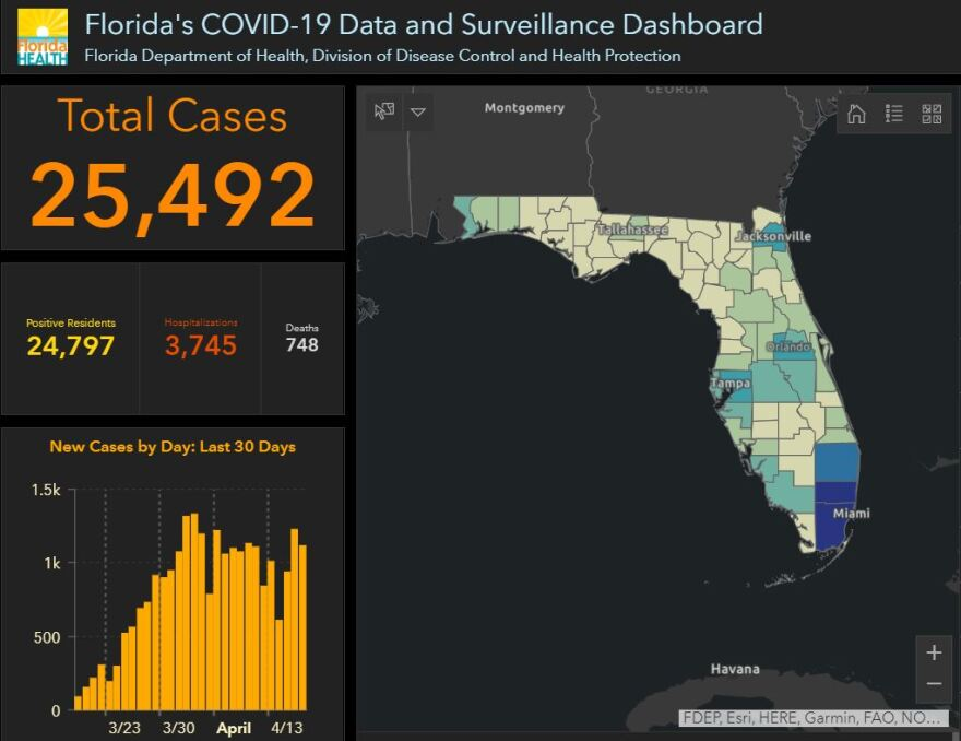 The number of cases of COVID-19 in Florida increased by 739 on Saturday.