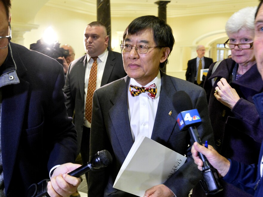 University of Maryland President Wallace Loh leaves the House Appropriations Committee hearing room in Annapolis in November 2018. The hearing was called to examine how the university responded to the death of football player Jordan McNair. Loh announced that he will stay on as president until June 2020.