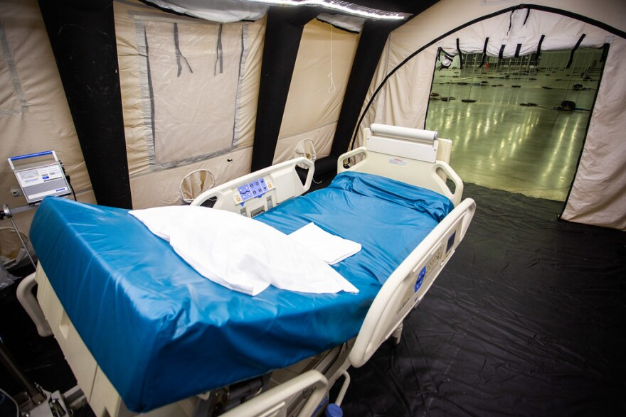 A field hospital is set up at the Austin Convention Center to handle coronavirus patients if hospitals in the area get overwhelmed.