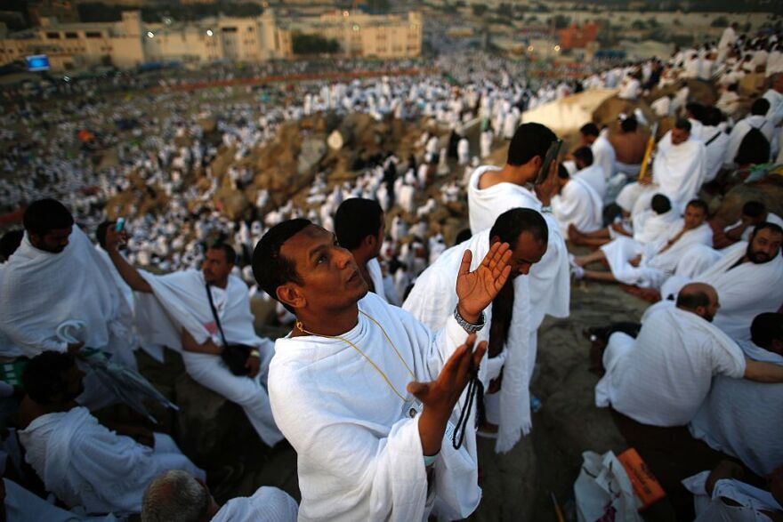 Muslim pilgrims join one of the hajj rituals on Mount Arafat near Mecca early on Sunday.