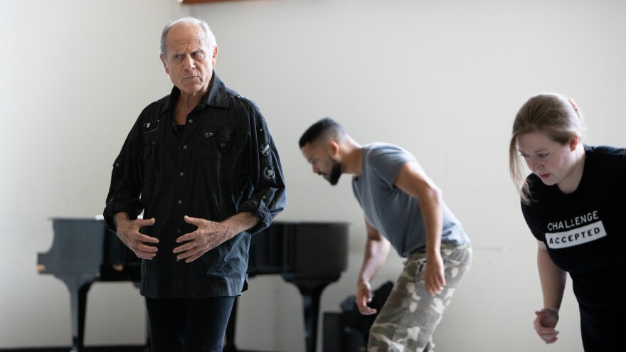 Moni Yakim teaches a movement class at Juilliard in May 2019.