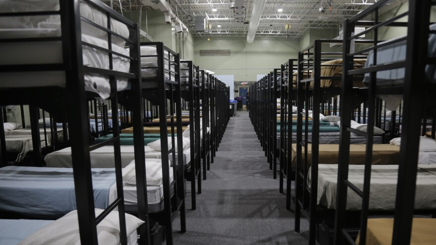 """Dormitory beds for migrant children at the Homestead """"temporary influx facility"""" outside of Miami."""