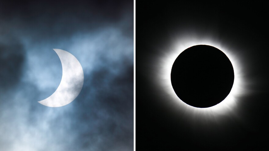 A partial solar eclipse (left) is seen from the Cotswolds, United Kingdom, while a total solar eclipse is seen from Longyearbyen, Norway, in March 2015.