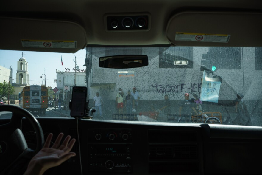 Will Rocci drives through downtown Ciudad Juárez en route to take Levis to a Dental Appointment on September 24, 2020. Rocci, along with Lindy Morrison, run Seguimos Adelante, an NGO that has continued helping migrants stuck in Juárez because of MPP, despite the pandemic.