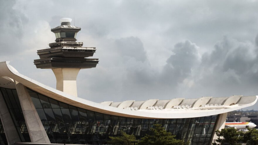 The air traffic control tower at  Dulles International Airport in Virginia.