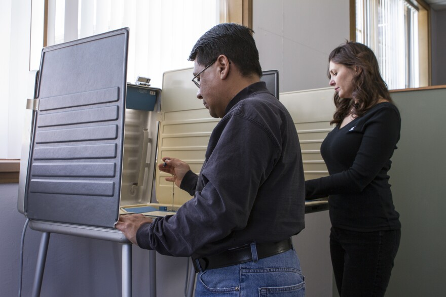 Two people standing at voting booths