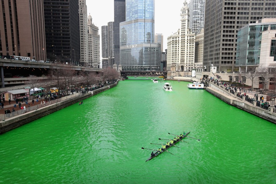 Rowers navigate the Chicago River shortly after it was dyed green Saturday in Chicago. Dyeing the river has been a St. Patrick's Day tradition in the city since 1962.