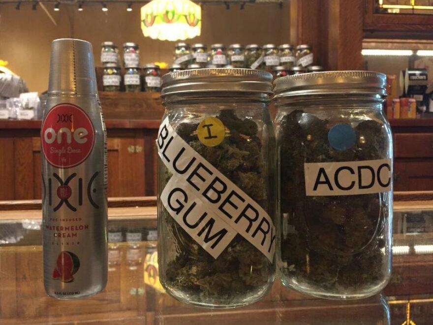 One 8.5-oz. serving of THC-laced beverage (left) alongside three ounces of dried marijuana (right).