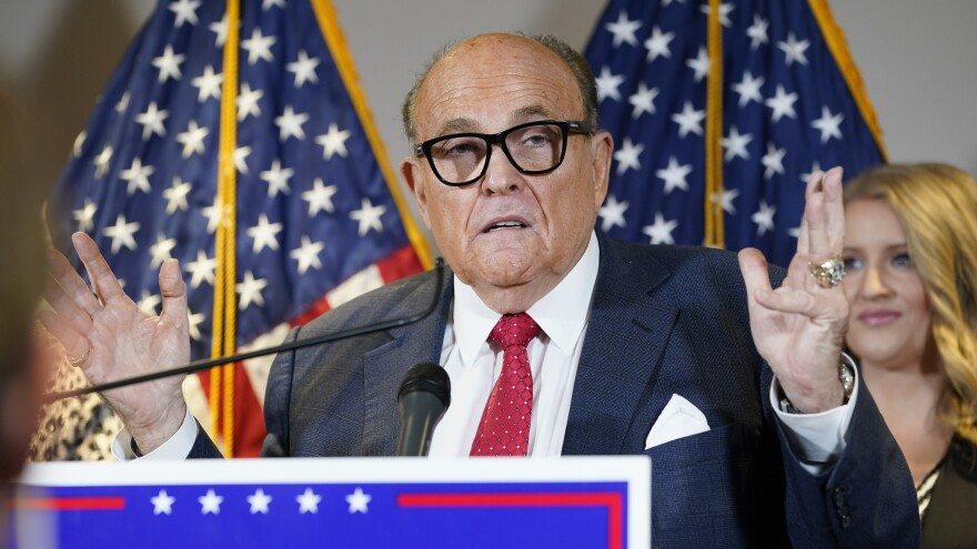 "The New York State Bar Association is launching a ""historic"" inquiry into Trump attorney Rudolph Giuliani, shown here at a press conference last November."
