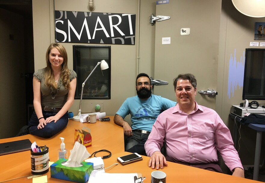 Graduate student Ella Dubinsky, choir director Sina Fallah, and professor of psychology Frank Russo at the Science of Music, Auditory Research and Technology Lab at Ryerson University in Toronto.