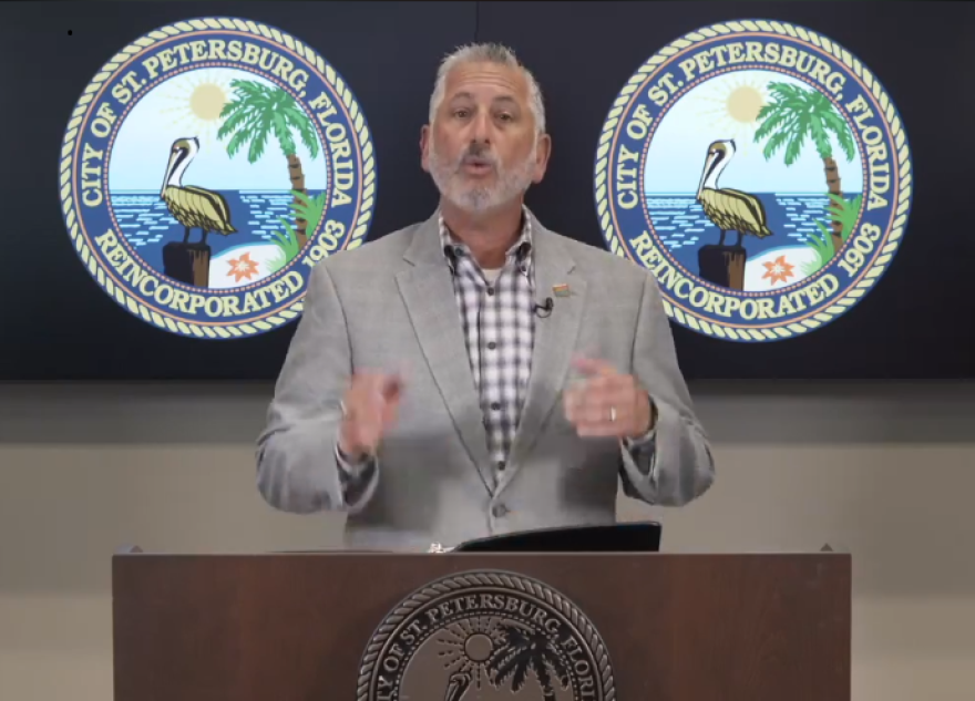 St. Petersburg Mayor Rick Kriseman said officials have visited more than 1,000 businesses since last week and issued dozens of violations to businesses that have not required their employees to wear masks.