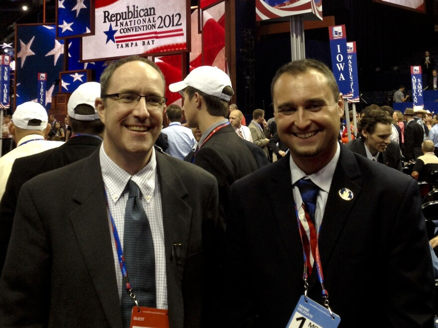 Maine delegates Ron Morrell (left) and state representative Aaron Libby. They support Ron Paul.