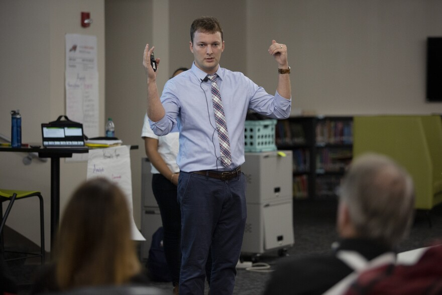 """Nate von der Embse, assistant professor of the School of Psychology at the University of South Florida trains Bayonet Point Middle School teachers and administrators on mental health """"first aid"""" and risk assessment."""