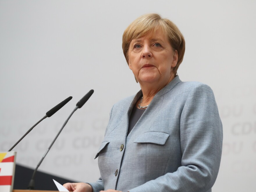German Chancellor Angela Merkel speaks in Berlin on Monday.