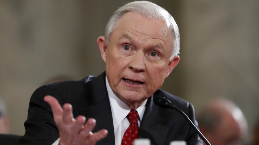 Then-Sen. Jeff Sessions testifies on Jan. 10 at the confirmation hearing on his nomination as attorney general.
