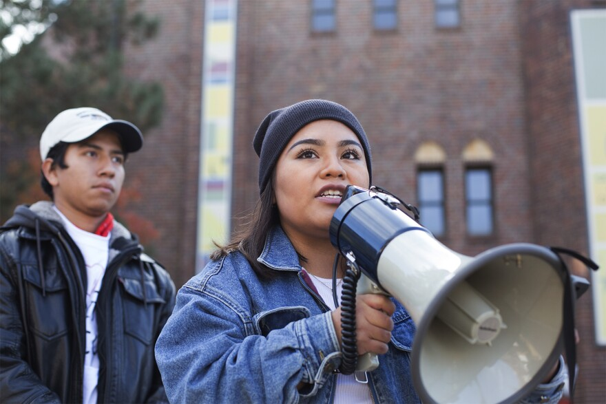 DACA activists rally outside an event organized by U.S. Rep. Lacy Clay at Saint Louis University. Nov. 10, 2017