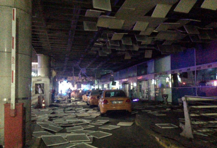 An entrance of the Ataturk Airport in Istanbul after explosions on Tuesday.