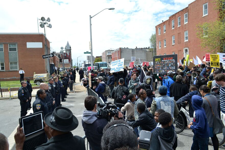 Protest at the Baltimore Police Department Western District building at N. Mount St. and Riggs Ave. on April 25, 2015.