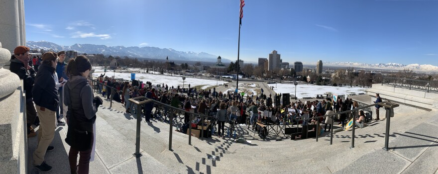 Panoramic photo from the State Capitol steps.