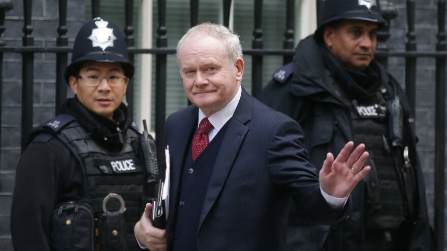 Martin McGuinness, seen here arriving at 10 Downing Street in central London last October for meetings in his role as Northern Ireland's deputy first minister, has died at age 66.