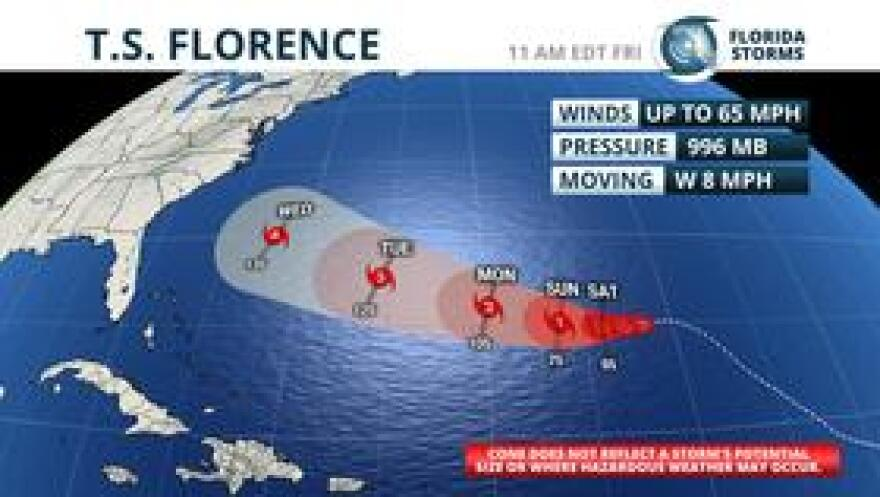 Official forecast from the National Hurricane Center on Florence, as issued 11 am Friday.