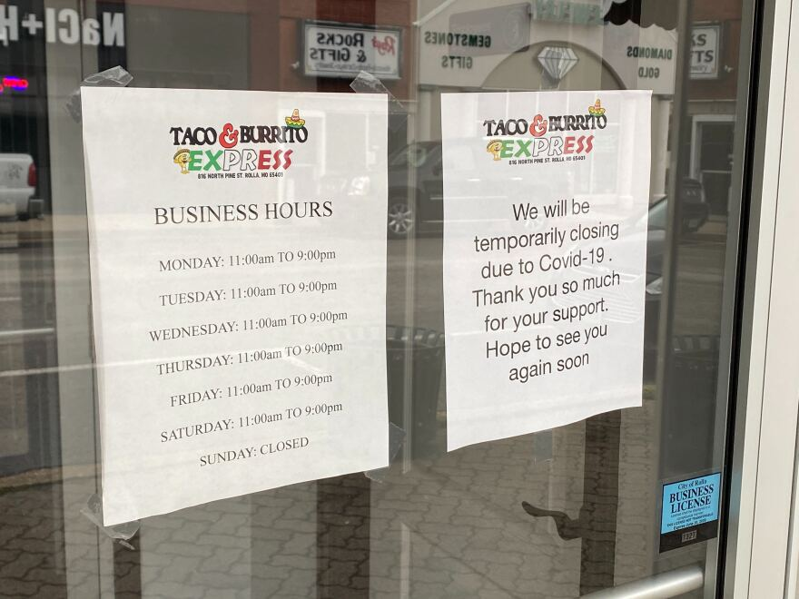 Taco and Burrito Express tried pickup and delivery, but the lack of college students in Rolla led them to close. 04-22-20