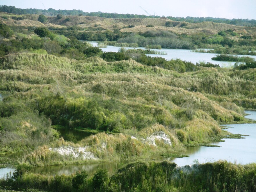 Restored wetlands, with a dragline to the east