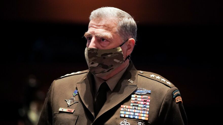 "The chairman of the Joint Chiefs of Staff, Gen. Mark Milley, pictured on July 9, tells NPR there is ""no role for the U.S. military in determining the outcome of a U.S. election. Zero."""