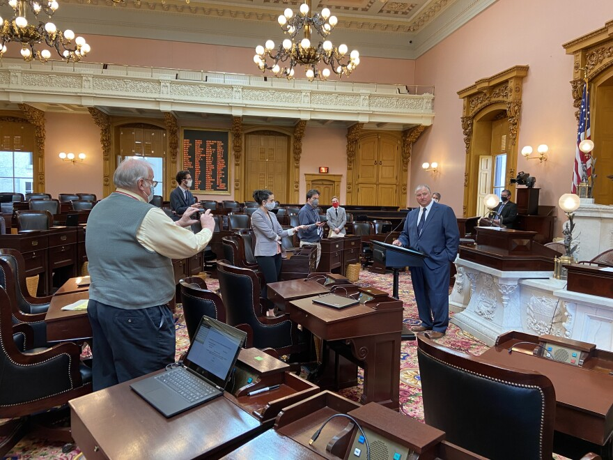 House Speaker Larry Householder (R-Glenford) speaks to masked reporters after session on May 13, 2020.