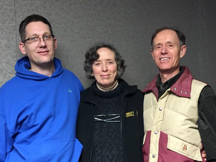 Bob Moore with Faith and John Morgan in the WYSO studios. arthur morgan
