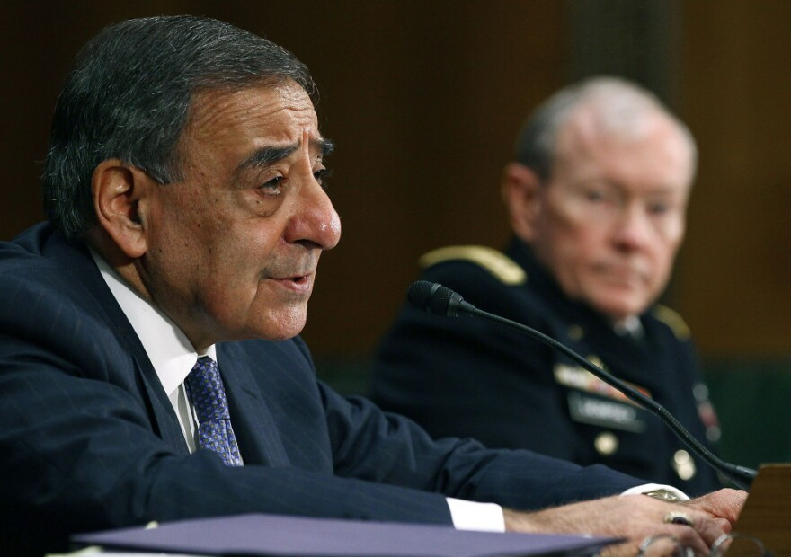 Defense Secretary Leon Panetta (L) and Chairman of the Joint Chiefs of Staff Gen. Martin Dempsey testify before the Senate Armed Services Committee.