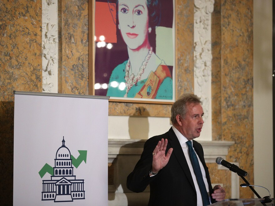 British Ambassador to the U.S. Kim Darroch speaks at the British Embassy in 2017. He became  ambassador to the U.S. in 2016.