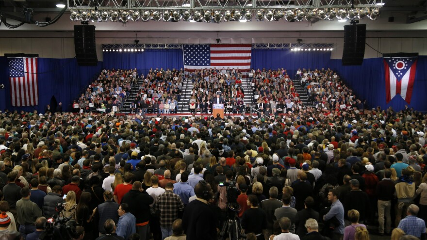 Donald Trump held a rally Monday at the Greater Columbus Convention Center in Ohio.