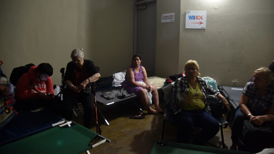 As Hurricane Maria ravaged Puerto Rico Wednesday, people took shelter at Roberto Clemente Coliseum in San Juan.