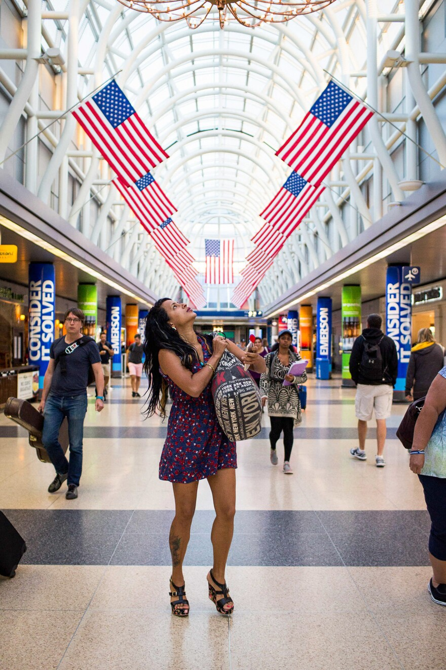 Liset arrives at Chicago O'Hare International Airport on July 3, 2016, the day after she entered the U.S. at a Texas port of entry. Her boyfriend, who met her at the airport, paid for her trip to the U.S.