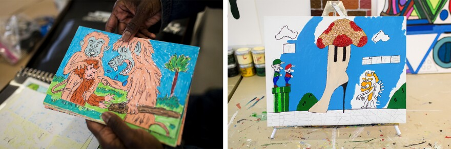 """Nonja Tiller holds one of her comics (left) illustrating two characters bullying another for being different. """"I'm trying to let people know who we are,"""" she says. """"We're humans; we're like anybody else."""" This Super Mario Brothers-inspired boot was painted by Shawn Payne, whose work is influenced by fashion designers like Christian Louboutin. He hopes his work will include wearables one day."""