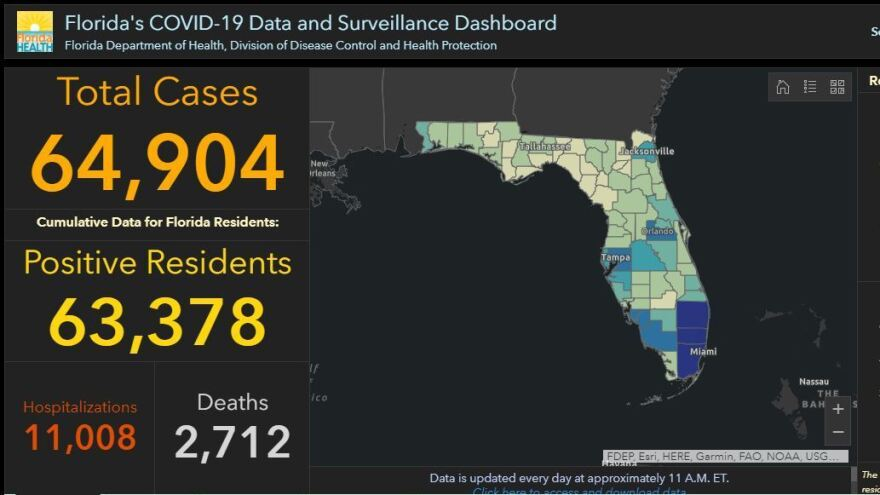 Florida's COVID-19 dashboard, here in a snapshot Monday, shows an uptick of cases.