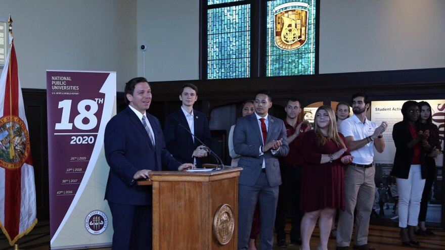 Gov. Ron DeSantis spoke at Florida State University Monday morning, praising the school for ranking as the country's 18th best public university in the latest U.S. News and World World Report rankings.