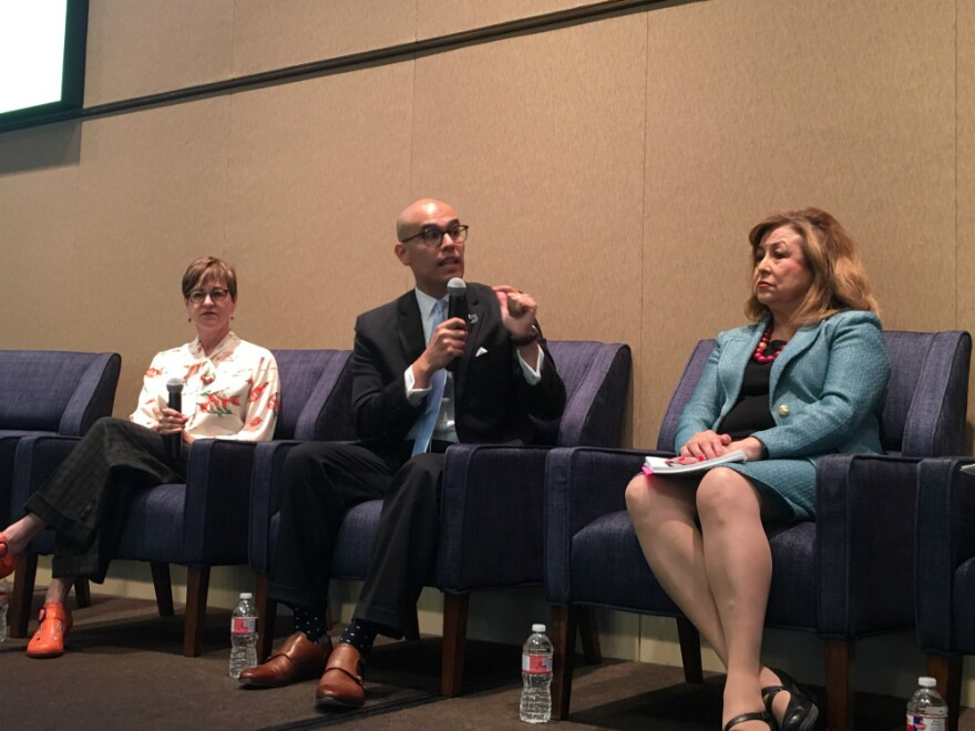 Three panelists talking about the CPPP research included (left to right) the Center's CEO Ann Beeson, Dallas ISD trustee Miguel Solis and Regina Montoya with the Dallas Mayor's Task Force on Poverty. Montoya is now also a mayoral candidate.