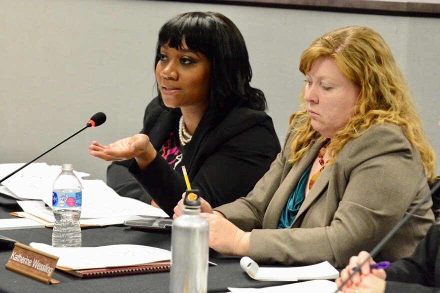 Susan Jones, left, of the St. Louis Board of Education, speaks during a joint meeting with the Special Administrative Board March 13, 2018. To Jones' right is board member Katie Wessling.