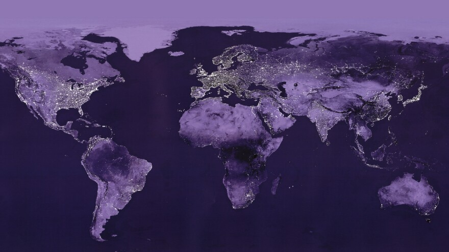 A world in light and dark: This satellite view shows where electric lights are in high usage.
