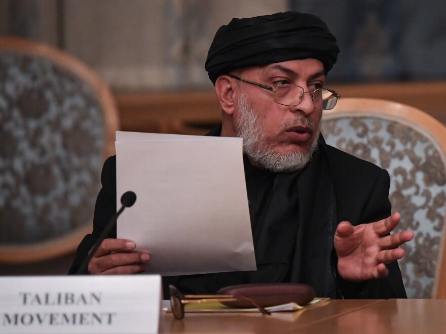 Sher Mohammad Abbas Stanakzai, a representative of the Taliban, attends international talks in Moscow last month. On Monday, the Islamist militant group announced that its representatives would be having conversations with the U.S. in the United Arab Emirates.