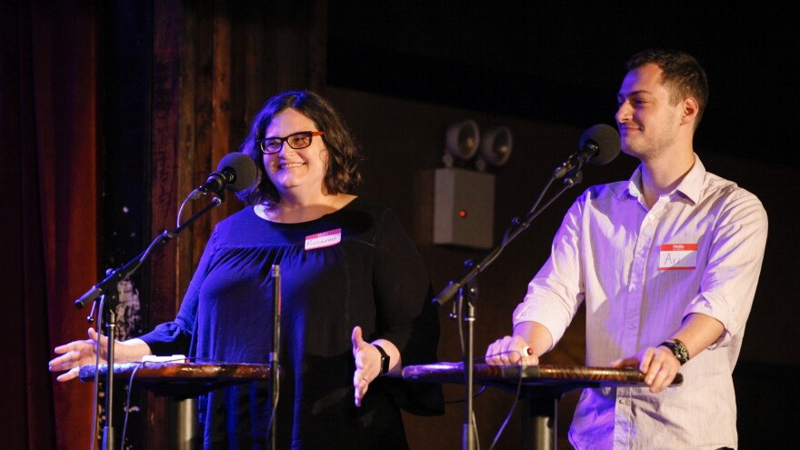 Contestants Rosanne Gangi-Gaertner and Ari Levine compete on Ask Me Another at the Bell House in Brooklyn, New York.