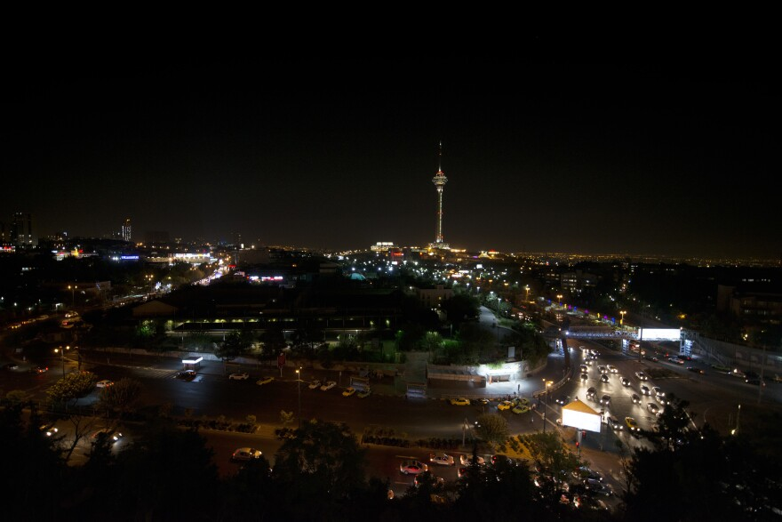 Tehran's city scape at night. Currently Soltanabadi and Kayhan are together in Iran's capital city.