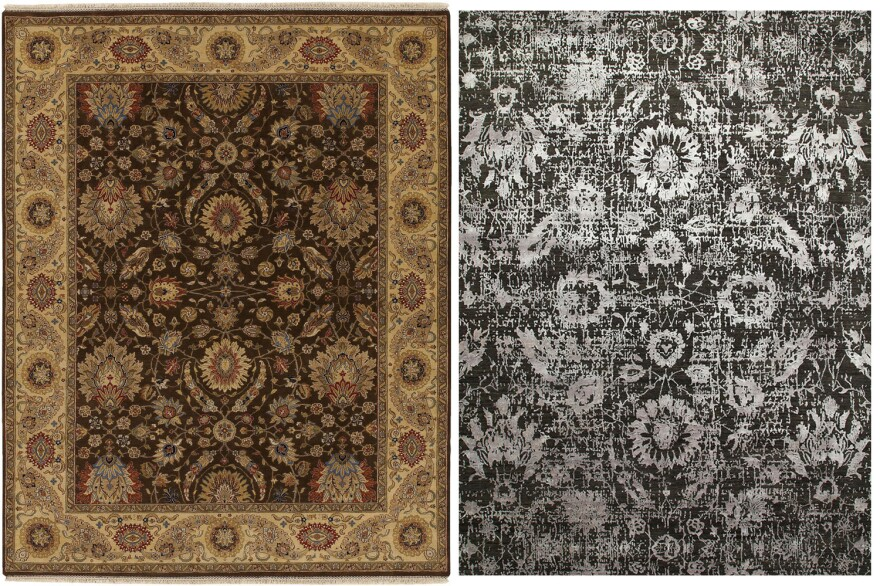 The new version (right) of a traditional Indian rug is more contemoprary — no border, more texture, a gray palette.