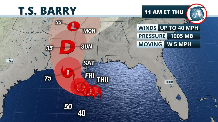 The low-pressure system that dipped into the Gulf of Mexico from Georgia strengthened into Tropical Storm Barry on Thursday morning and continues to make its way west, on a projected path toward Louisiana as a potential Category 1 hurricane.