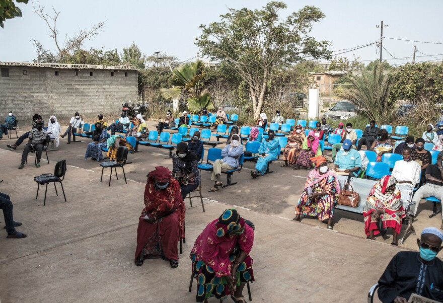 Patients entering the Pikine Hospital in Dakar on April 23.